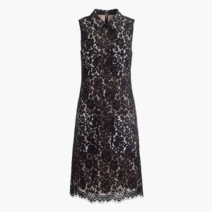 Size 6 J Crew Black Lace Midi Dress with pockets